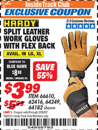 Harbor Freight SPLIT LEATHER WORK GLOVES WITH FLEX BACK coupon