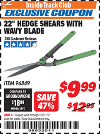 "www.hfqpdb.com - 22"" HEDGE SHEARS WITH WAVY BLADE Lot No. 96849"