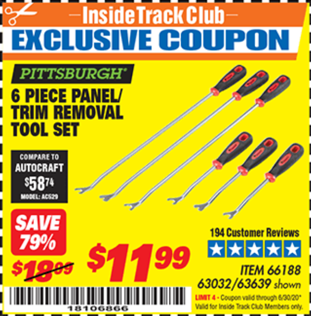 Harbor Freight 6 PIECE PANEL/TRIM REMOVAL TOOL SET coupon