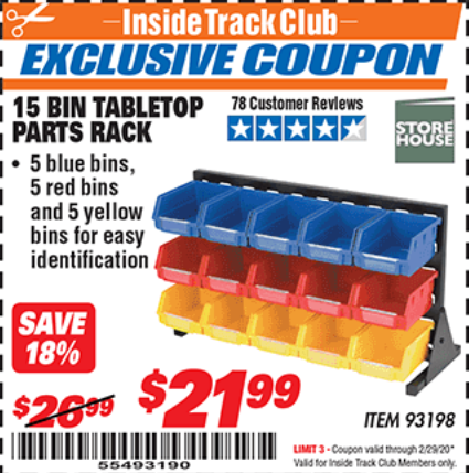 Harbor Freight 15 BIN TABLE TOP PARTS RACK coupon