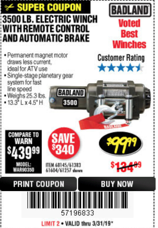 harbor freight tools coupon database free coupons, 25 percent off3500 lb electric winch with remote control and automatic brake lot no 68145 61383 61604 61257 expired 3 31 19 $99 99