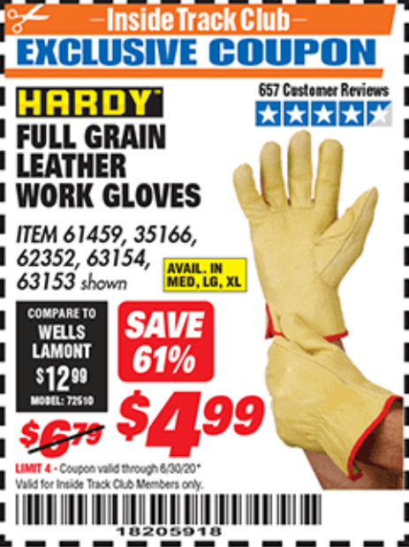www.hfqpdb.com - FULL GRAIN LEATHER WORK GLOVES - LARGE Lot No. 35166/61459/62352