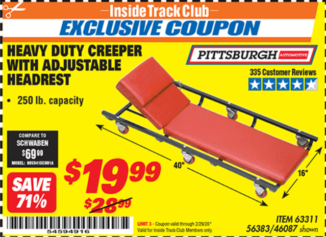 www.hfqpdb.com - HEAVY DUTY CREEPER WITH ADJUSTABLE HEADREST Lot No. 63311/56383/46087