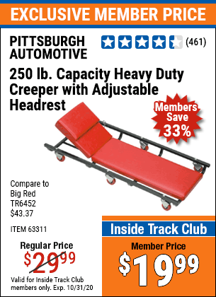 Harbor Freight HEAVY DUTY CREEPER WITH ADJUSTABLE HEADREST coupon