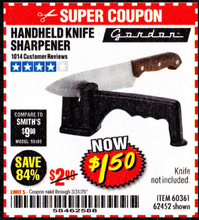 Harbor Freight HANDHELD KNIFE SHARPENER coupon