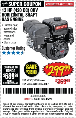 Harbor Freight PREDATOR 13 HP (420 CC) OHV HORIZONTAL SHAFT GAS ENGINES coupon