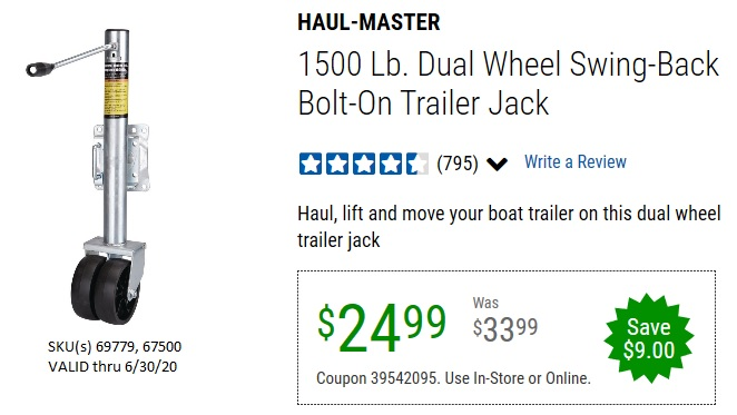 Harbor Freight 1500 LB. CAPACITY DUAL WHEEL SWING-BACK BOAT TRAILER JACK coupon