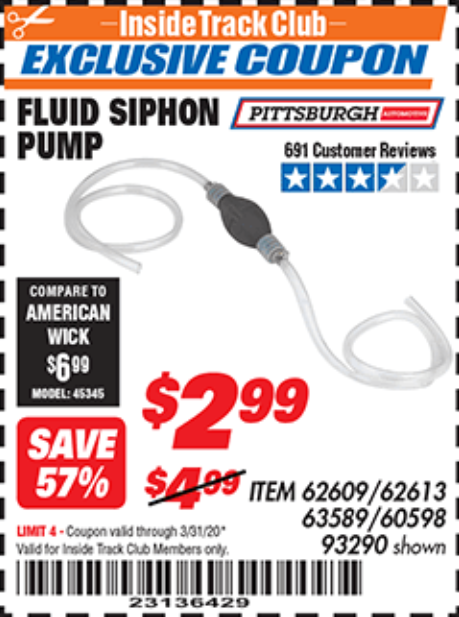 Harbor Freight FLUID SIPHON PUMP coupon