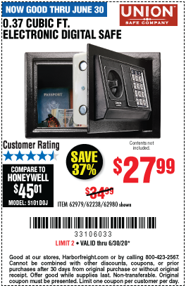 Harbor Freight 0.37 CUBIC FT. ELECTRONIC DIGITAL SAFE coupon