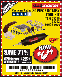 Harbor Freight 80 PIECE ROTARY TOOL KIT coupon