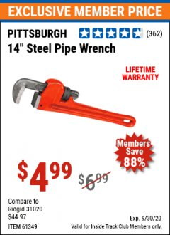 "Harbor Freight ITC Coupon 14"" STEEL PIPE WRENCH Lot No. 39643/61349 Expired: 9/30/20 - $4.99"