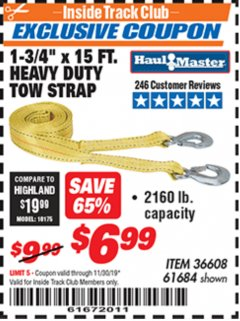 "Harbor Freight ITC Coupon 1-3/4"" x 15 FT. HEAVY DUTY TOW STRAP Lot No. 36608/61684 Expired: 11/30/19 - $6.99"