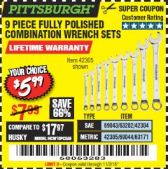 Harbor Freight Coupon 9 PIECE FULLY POLISHED COMBINATION WRENCH SETS Lot No. 63282/42304/69043/63171/42305/69044 Expired: 11/2/18 - $5.99
