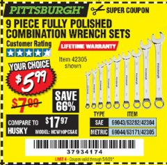 Harbor Freight Coupon 9 PIECE FULLY POLISHED COMBINATION WRENCH SETS Lot No. 63282/42304/69043/63171/42305/69044 Expired: 6/30/20 - $5.99