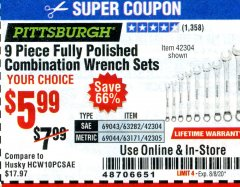 Harbor Freight Coupon 9 PIECE FULLY POLISHED COMBINATION WRENCH SETS Lot No. 63282/42304/69043/63171/42305/69044 Expired: 8/8/20 - $5.99