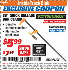 "Harbor Freight ITC Coupon 36"" QUICK RELEASE BAR CLAMP Lot No. 96208 Expired: 11/30/18 - $5.99"