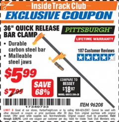 "Harbor Freight ITC Coupon 36"" QUICK RELEASE BAR CLAMP Lot No. 96208 Expired: 2/28/19 - $5.99"