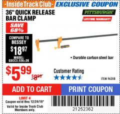 "Harbor Freight ITC Coupon 36"" QUICK RELEASE BAR CLAMP Lot No. 96208 Expired: 12/24/19 - $5.99"