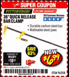 "Harbor Freight Coupon 36"" QUICK RELEASE BAR CLAMP Lot No. 96208 Expired: 3/31/20 - $6.99"