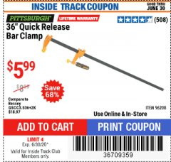 "Harbor Freight Coupon 36"" QUICK RELEASE BAR CLAMP Lot No. 96208 Expired: 6/30/20 - $5.99"