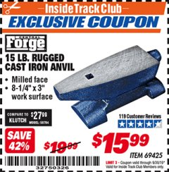 Harbor Freight ITC Coupon 15 LB. RUGGED CAST IRON ANVIL Lot No. 3999/69425 Expired: 9/30/19 - $15.99