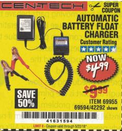 Harbor Freight Coupon AUTOMATIC BATTERY FLOAT CHARGER Lot No. 64284/42292/69594/69955 Expired: 5/22/18 - $4.99