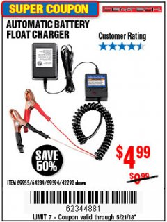 Harbor Freight Coupon AUTOMATIC BATTERY FLOAT CHARGER Lot No. 64284/42292/69594/69955 Expired: 5/21/18 - $4.99