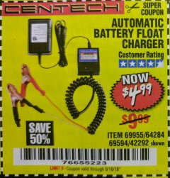 Harbor Freight Coupon AUTOMATIC BATTERY FLOAT CHARGER Lot No. 64284/42292/69594/69955 Expired: 9/18/18 - $4.99