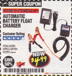 Harbor Freight Coupon AUTOMATIC BATTERY FLOAT CHARGER Lot No. 64284/42292/69594/69955 Expired: 11/30/18 - $4.99
