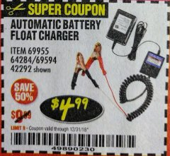 Harbor Freight Coupon AUTOMATIC BATTERY FLOAT CHARGER Lot No. 64284/42292/69594/69955 Expired: 12/31/18 - $4.99