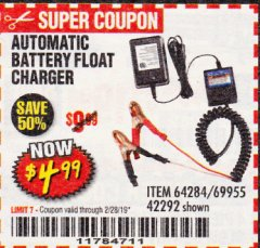 Harbor Freight Coupon AUTOMATIC BATTERY FLOAT CHARGER Lot No. 64284/42292/69594/69955 Expired: 2/28/19 - $4.99