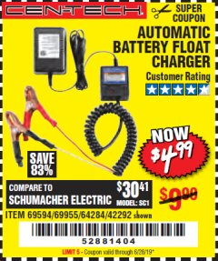 Harbor Freight Coupon AUTOMATIC BATTERY FLOAT CHARGER Lot No. 64284/42292/69594/69955 Expired: 6/28/19 - $4.99