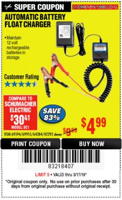 Harbor Freight Coupon AUTOMATIC BATTERY FLOAT CHARGER Lot No. 64284/42292/69594/69955 Expired: 3/17/19 - $4.99
