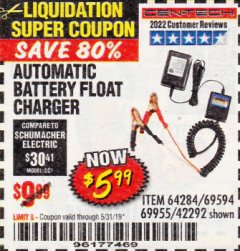 Harbor Freight Coupon AUTOMATIC BATTERY FLOAT CHARGER Lot No. 64284/42292/69594/69955 Expired: 5/31/19 - $5.99