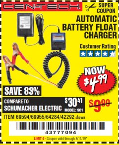 Harbor Freight Coupon AUTOMATIC BATTERY FLOAT CHARGER Lot No. 64284/42292/69594/69955 Expired: 8/11/19 - $4.99