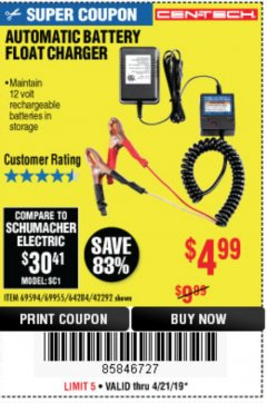 Harbor Freight Coupon AUTOMATIC BATTERY FLOAT CHARGER Lot No. 64284/42292/69594/69955 Expired: 4/21/19 - $4.99