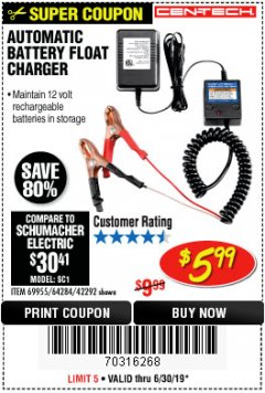 Harbor Freight Coupon AUTOMATIC BATTERY FLOAT CHARGER Lot No. 64284/42292/69594/69955 Expired: 6/30/19 - $5.99