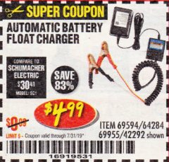 Harbor Freight Coupon AUTOMATIC BATTERY FLOAT CHARGER Lot No. 64284/42292/69594/69955 Expired: 7/31/19 - $4.99