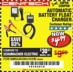 Harbor Freight Coupon AUTOMATIC BATTERY FLOAT CHARGER Lot No. 64284/42292/69594/69955 Expired: 10/1/19 - $4.99