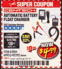 Harbor Freight Coupon AUTOMATIC BATTERY FLOAT CHARGER Lot No. 64284/42292/69594/69955 Expired: 8/31/19 - $4.99