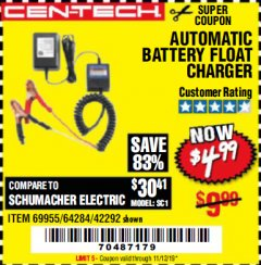 Harbor Freight Coupon AUTOMATIC BATTERY FLOAT CHARGER Lot No. 64284/42292/69594/69955 Expired: 11/12/19 - $4.99
