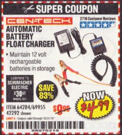 Harbor Freight Coupon AUTOMATIC BATTERY FLOAT CHARGER Lot No. 64284/42292/69594/69955 Expired: 10/31/19 - $4.99