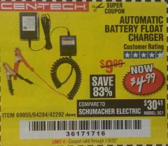 Harbor Freight Coupon AUTOMATIC BATTERY FLOAT CHARGER Lot No. 64284/42292/69594/69955 Expired: 1/9/20 - $4.99