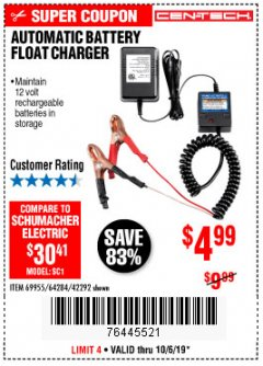 Harbor Freight Coupon AUTOMATIC BATTERY FLOAT CHARGER Lot No. 64284/42292/69594/69955 Expired: 10/6/19 - $4.99