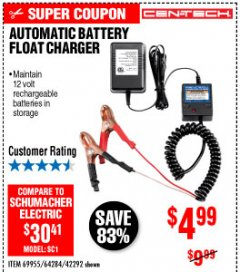Harbor Freight Coupon AUTOMATIC BATTERY FLOAT CHARGER Lot No. 64284/42292/69594/69955 Expired: 10/4/19 - $4.99