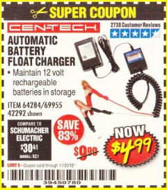 Harbor Freight Coupon AUTOMATIC BATTERY FLOAT CHARGER Lot No. 64284/42292/69594/69955 Expired: 11/30/19 - $4.99
