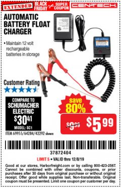Harbor Freight Coupon AUTOMATIC BATTERY FLOAT CHARGER Lot No. 64284/42292/69594/69955 Expired: 12/8/19 - $5.99