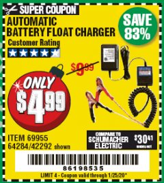 Harbor Freight Coupon AUTOMATIC BATTERY FLOAT CHARGER Lot No. 64284/42292/69594/69955 Expired: 1/25/20 - $4.99