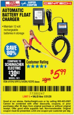 Harbor Freight Coupon AUTOMATIC BATTERY FLOAT CHARGER Lot No. 64284/42292/69594/69955 Expired: 1/31/20 - $5.99