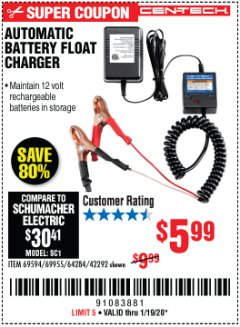 Harbor Freight Coupon AUTOMATIC BATTERY FLOAT CHARGER Lot No. 64284/42292/69594/69955 Expired: 1/19/20 - $5.99